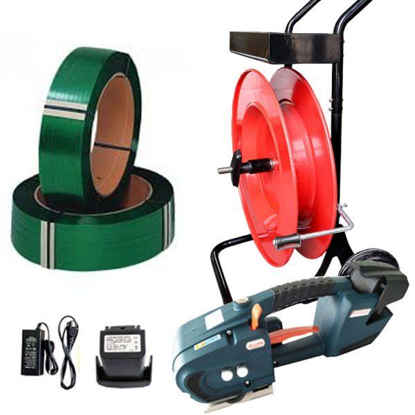 batterystrapping.com-bandning-med-plastband-set-TES-12-16mm-PET-band-avrullare